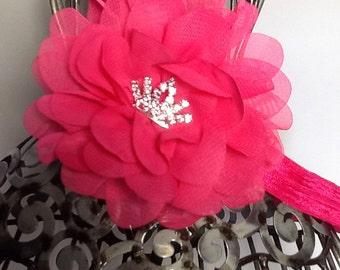 Hot pink headband, pink chiffon flower, fancy flower headband hair accessory, hot pink girls headband, baby headband, flower headband