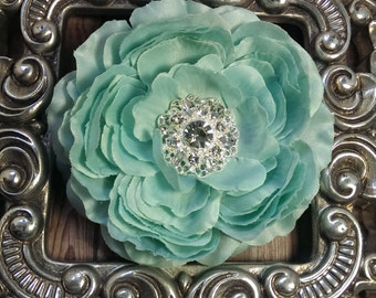 Mint flower hair clip, mint hair flower, mint hair accessory, girls flower hair clip, girls hair accessory, flower hair clip hair accessory