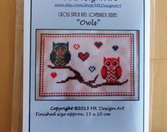 Lovebird owls cross stitch kit: lovebirds series