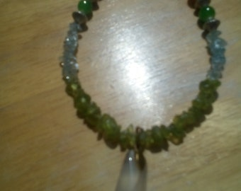 Mother of Pearl Drop Pendant with Peridot and Blue Topaz