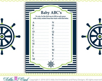 Delightful Grass Green Navy ABCu0027s Game Nautical Baby Shower Game Printable For Nautical  Boy Party   Sailboat