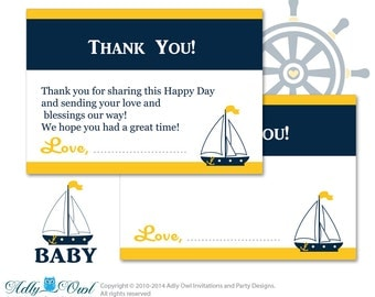 Boy Nautical Thank you Card Printable for Baby Boy Shower or Birthday DIY Stripes, Navy Yellow - ao41bsy22