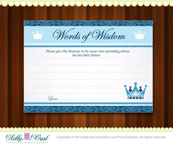 items similar to word of wisdom for prince baby shower