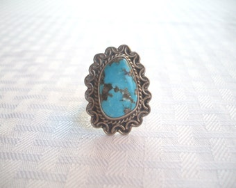 Huge Vintage Taxco MEXICO Sterling Silver & TURQUOISE RING, size 8 3/4