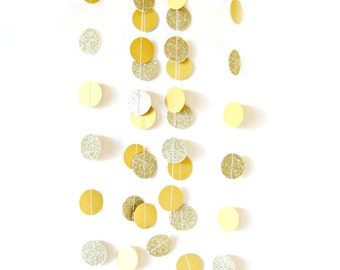 Gold glitter circle garland  - gold glitter garland, gold shimmer garland, glitter circle garland, gold glitter wedding, party decor,