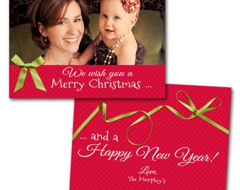 "Christmas Ribbons Photo Christmas Card -  5"" X 7"" Digital File"