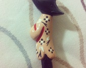 T E A  T I M I N '  C U T I E  Handmade 1940s 1950s Handpainted Bakelite Style Reproduction Brooch by Demure Couture