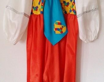 Clown,Costume clown. Toddler clown. Girls Clown.  Clown Costume for children Size 4-5 Very Baggy