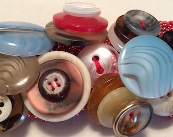 Vintage Marble Button Bracelet - Multicolored Cuff Bracelet