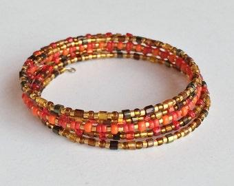 Multi Color Seed Beads Bracelet, 5 Strands Memory Wire Bracelet B30