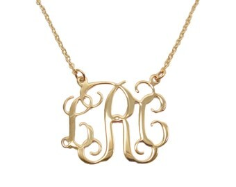 "Monogram Necklace 18k gold plated brass 1.25"" monogram necklace. Personalized monogram necklace."