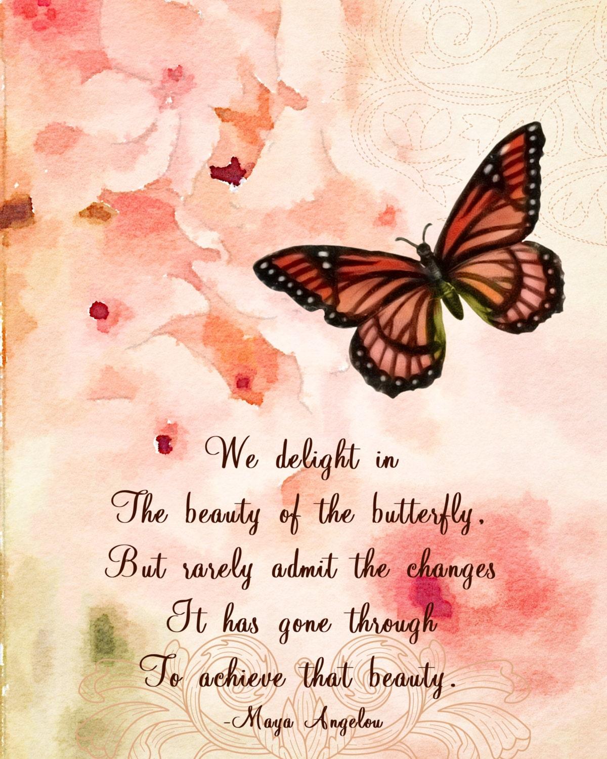 Maya Angelou A Butterfly Quote Shabby Chic Watercolor Motivational