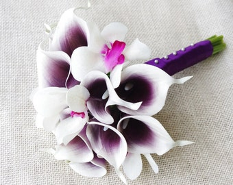 Wedding Bouquet Off White Hydrangeas and Picasso Purple Heart Calla Lilies and Fuchsia Orchids Silk Flower Bride Bouquet - Almost Fresh