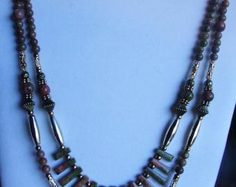 Double strand unakite necklace 0253NK
