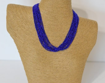 SALE: Mix of two blue colors, royal blue and sapphire blue necklace, sapphire blue necklace, royal blue, boho necklace, beaded necklace