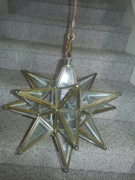 Moravian Star-Shaped Pendant Light Clear Glass with Bronze