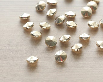 30 pcs of Gold Plated Flat Round Acrylic Faceted Beads - 12mm