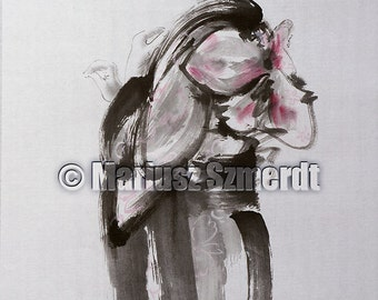 Geisha painting, japanese women painting, sumi-e, women painting, woman art, geisha original painting