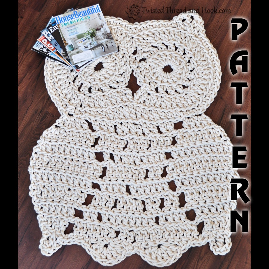 Rope Owl Rug Pattern Crochet Pattern Owl Decor