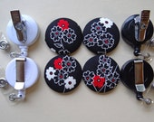 Retractable Badge Holder - Fabric Covered Button - Varied Blossoms