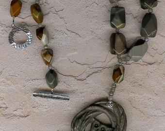 Screeching Halt - Succor Creek Jasper Owl Pendant, Labradorite, Sterling Silver Necklace
