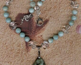 Body Surfing - Carved Amazonite Gemstone OOAK Dolphin Pendant, Malaysian Jade, Rock Quartz, FW Pearls, SS Necklace Sea Ocean Beach Jewelry