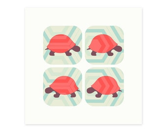 Sorry I'm late,  I was walking the turtle! (set of 6 geometric hexagon gift cards)
