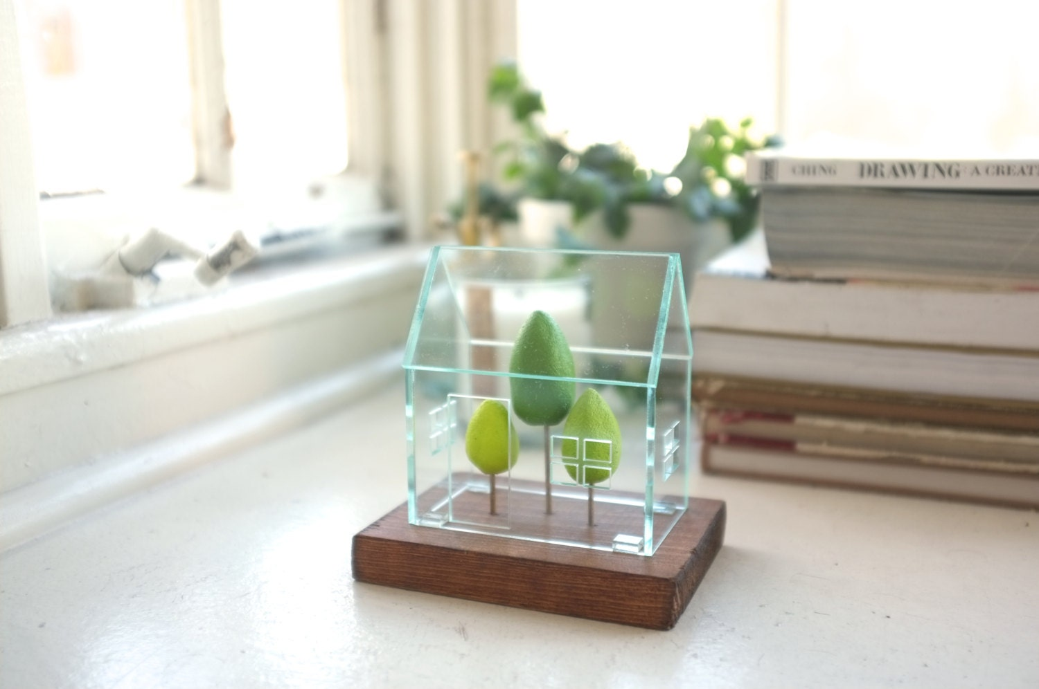 Miniature greenhouse structure small acrylics architecture around green trees glass house look solarium