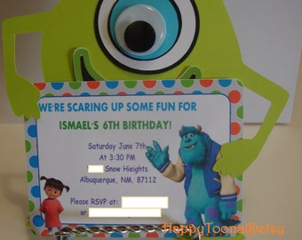 Mike Wazowski birthday party invitations -setof 8.
