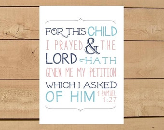 1 Samuel 1:27 For this Child I Prayed Gotcha Day Gift. Print and Pop into any frame. DIY Instant Downloadable File. Adoption Gift