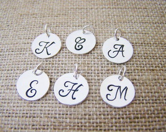 Add a Hand Stamped STERLING Silver Initial Charm / Script Font / Alphabet Initial Disc - Initial Disc - Jewelry Supplies - DIY Jewelry Charm