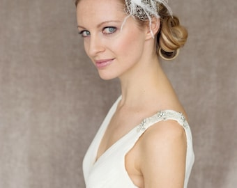 "Bridal Fascinator, Veil with Feather Headpiece  - ""Claire"""