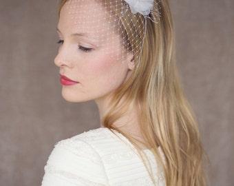 "Wedding Bridal Birdcage with organza silk flower - ""Rose"""