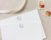 Letterpress Monogram Personalized Stationery, Set of 25, initials, note cards, anniversary, thank you, wedding, bridesmaid, gift S128