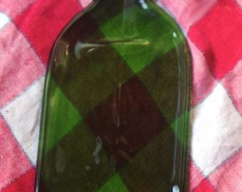 Flat Wine Bottle - Slumped wine bottle - Recycled wine bottle - cheese platter