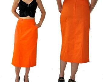 SALE___Vintage Orange Midi Skirt