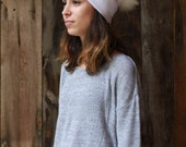 SALE  was 40 - Aurora collection - ice white- Handmade ribbed beanie with recycled white Fox fur pompom