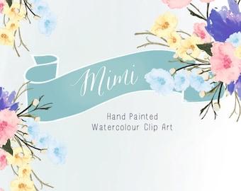 Watercolour Flowers - Hand Painted Clip Art - Mimi