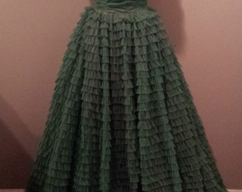 50s Green Tiered Dress