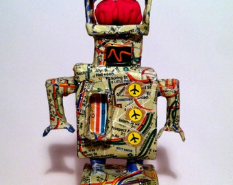 Paper Mâché Robot with Brain.  Robots of 1995 Collection