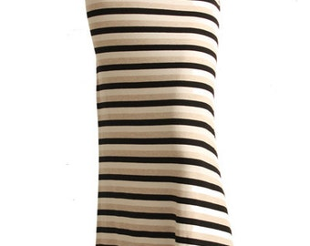 Black Cream & Tan Striped Maxi Skirt