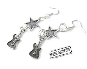 Guitar earrings - punk rock jewelry - rock n roll jewelry - rockabilly jewelry  girls rock star party glam rock star costume - music jewelry