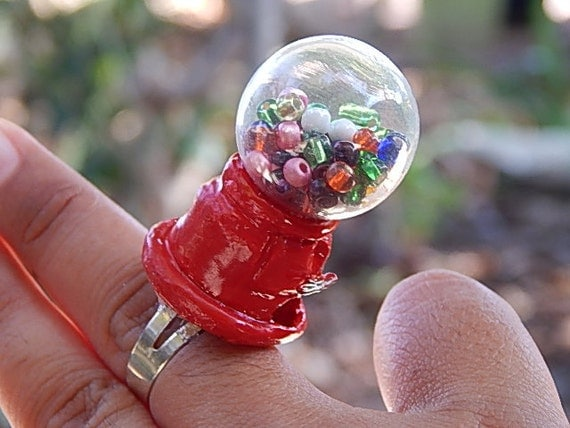 Miniature gumball machine ring bubble gum snow globe ring glass bubble ring terrarium ring