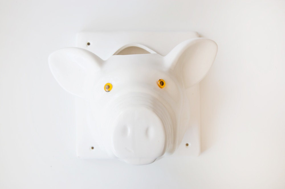 Large Vintage Ceramic Pig Head Wall Decor By Duncanandco