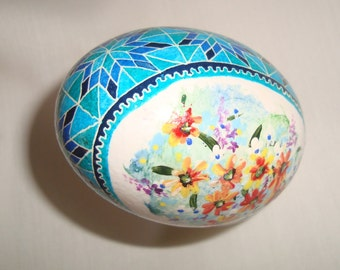 Modern Pysanky  Chicken Egg in Shades of Blue, with hand painted wild flowers