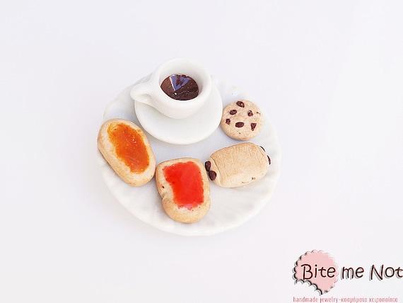 Food Jewelry Coffee and Breakfast Brooch, Coffee Jewelry, Miniature Food, Polymer Clay Sweets, Mini Food Jewelry, Ceramic Jewelry