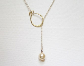 Lariat Necklace Gold Pearl Necklace Rose Gold Filled Minimalist Necklace Gold Filled Necklace Hammered Necklace Large Pearl Necklace