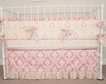 Vintage Floral  Rose Pink and Ivory Baby Girl Crib Cot Bedding