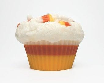 Jumbo Candy Corn Cupcake Candle