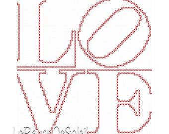 Cross stitch pattern love art text decoration.